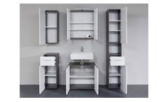 Badezimmer Badmöbel Komplettset Line 5-teilig weiß Hochglanz rauchsilber Melamin