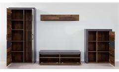 Wohnwand Indy 4-tlg. Old Wood graphit grau Matera Anbauwand mit LED Wohnzimmer