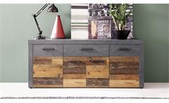 Sideboard Indy Kommode in Old Wood und Graphit grau Matera Anrichte Wohnzimmer