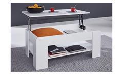 Couchtisch Universal Tisch in weiß mit Funktion Beistelltisch Wohnzimmertisch