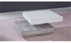 Couchtisch Universal Tisch drehbar Beton und weiß Wohnzimmertisch Beistelltisch