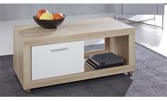 Couchtisch Universal Tisch Rollen in Eiche weiß Wohnzimmertisch Beistelltisch