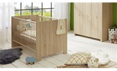 Babybett Olivia Kinderbett Sprossenbett Babyzimmer in Eiche Sägerau 70x140 cm