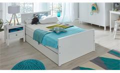 Bett Ole Bettgestell Jugendbett mit Bettkasten Jugendzimmer in weiß 90x200 cm