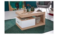 Couchtisch Universal Beistelltisch Tisch Wohnzimmer Eiche Sägerau und weiß 90x48