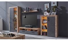 Wohnwand Anbauwand Schrankwand Tailor Matera dunkelgrau und Pale wood inkl. LED