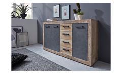 Kommode Wohnzimmer Schrank Tailor Anrichte 3 in Matera dunkelgrau und Pale wood