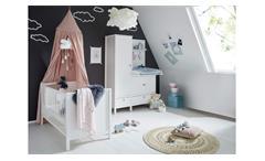 Babyzimmer weiß Set Emma 2-teilig Babybett Kleiderschrank Wickelaufsatz modern