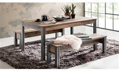 Tischgruppe Esszimmer Prime Esstisch Tisch Bank Old Used Wood / Matera grau