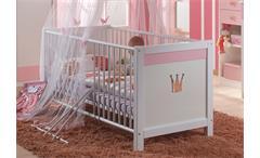 Babybett Kinderbett CINDERELLA Weiß und Rosé