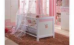Babyzimmer Cindy Kinderbett Wickelkommode Kleiderschrank in weiß rosé