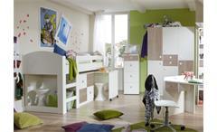 Jugendzimmer SUNNY 4-teilig Weiß und Sonoma Eiche Sägerau