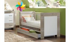 Babybett CHERIA in Sonoma Eiche sägerau und Weiß