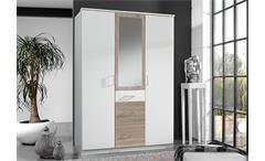 Kleiderschrank Click Schrnak in weiß Sonoma Eiche sägerau mit Spiegel 135 cm