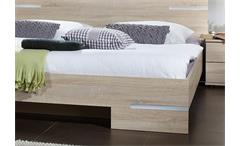 Futonbett Anna 140x200 Bett in Sonoma Eiche sägerau mit Chromabsetzungen