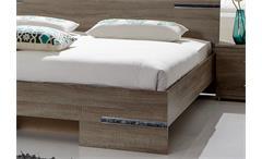 Futonbett Anna 160x200 Bett in Sonoma Eiche sägerau mit Chromabsetzungen