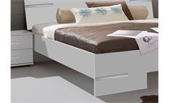 Schlafzimmer Anna Kombi 4 in alpinweiß Dekor und Chrom Bett Schrank Nachtkommode