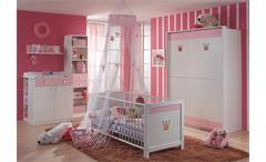 Schwebetürenschrank Cindy Kinderzimmer Babyzimmer Kleiderschrank in weiß und rosé