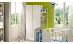 Kleiderschrank 2-türig Baby- und Jugendzimmer Bibi weiß Akzent apfelgrün