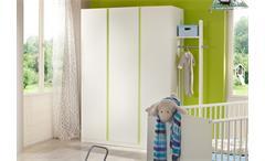 Kleiderschrank Babyzimmer Bibi 3-türig weiß mit Akzent apfelgrün Kinderzimmer