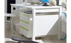 Schreibtisch mit Rollcontainer Jugendzimmer Bibi weiß mit Akzent apfelgrün
