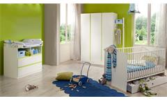 Babyzimmer Bibi 4-teilig Gitterbett Schrank Kommode Wickelaufsatz weiß apfelgrün