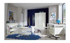Jugendzimmer Bibi 7-teilig weiß apfelgrün Schrank Bett Schreibtisch Container