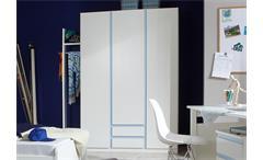 Kleiderschrank Kinderzimmer BIBI 3-türig weiß iceblau 2 Schubkästen