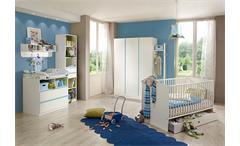 Babyzimmer Bibi 7-teilig Babybett Schrank Wickelkommode Regal in weiß iceblau