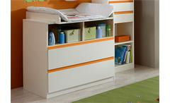Wickelkommode BIBI Wickeltisch Babyzimmer weiß und orange