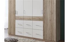 Kleiderschrank Click 2 Schlafzimmerschrank Schrank in San Remo Eiche und Weiß 225 cm