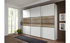 Schwebetürenschrank Match Up Schrank in weiß und Wildeiche 360x236 cm