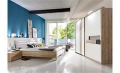 Schlafzimmer Diva Schwebetürenschrank 300cm Bett Nachttische San Remo Eiche weiß