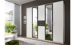 Kleiderschrank Diver Schrank Schlafzimmer weiß Absetzungen anthrazit B 225 cm
