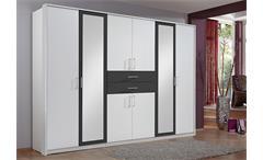 Kleiderschrank Diver Schrank Schlafzimmer weiß Absetzungen anthrazit B 270 cm