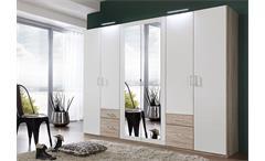 Kleiderschrank Fly Schrank Schlafzimmer weiß Eiche sägerau  mit Spiegel B 225 cm