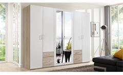 Kleiderschrank Freiburg Schrank Schlafzimmer weiß Eiche sägerau mit Spiegel B 270 cm