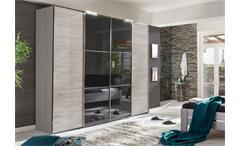 Schwebetürenschrank Escape Weißeiche Kleiderschrank mit Glasfront grau 300 cm