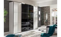 Schwebetürenschrank Escape Alpinweiß Kleiderschrank mit Glasfront schwarz 300 cm