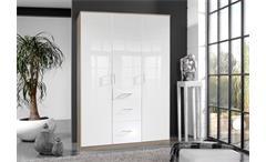 Kleiderschrank Clack Schlafzimmer Drehtürenschrank in hochglanz weiß Eiche 135cm