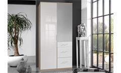 Kleiderschrank Clack Drehtürenschrank in hochglanz weiß Eiche mit Spiegel 90 cm