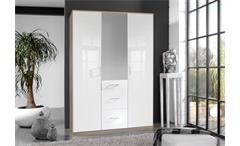 Kleiderschrank Clack Drehtürenschrank in hochglanz weiß Eiche mit Spiegel 135 cm