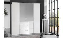 Kleiderschrank Clack Drehtürenschrank in hochglanz weiß Alpinweiß Spiegel 180 cm