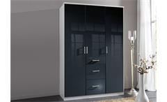 Kleiderschrank Clack Drehtürenschrank in hochglanz schwarz Alpinweiß 135 cm