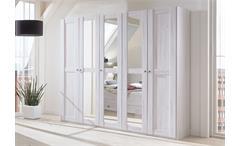 Kleiderschrank Chateau 5-türig Drehtürenschrank in Weißeiche mit Spiegeln