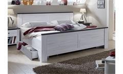 Bett Chateau 180x200 cm Schlafzimmer Doppelbett mit 2 Schubkästen in Weißeiche