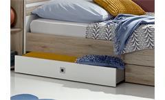 Bett Joker Schlafzimmer in San Remo-Eiche Alpinweiß mit Schubkästen