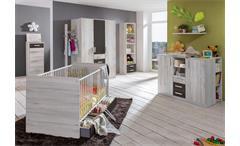 Babyzimmer 4 Cariba 9 tlg. Weißeiche Abs. Lavafarbig