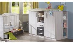 Babyzimmer Set 9 tlg. Cariba in Weißeiche Absetzungen Lavafarbig