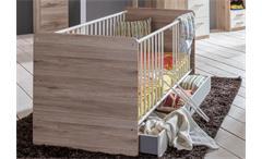Babybett Cariba Babyzimmer Bett in San Remo-Eiche Schlupfsprossen und Bettkasten
